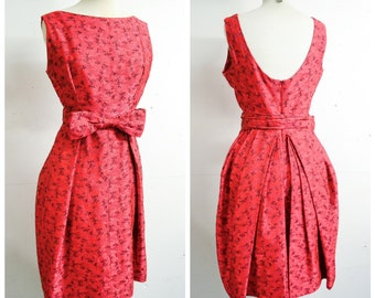 1960s Red black pleated tulip skirt cocktail dress / 50s 60s damask brocade bow low back party dress / S