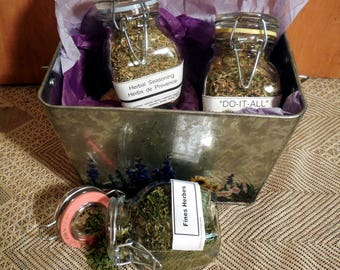 Herb Seasoning Gift Set in a hand painted tin, Set of 3, Fine Herbs, Herbs De Provence, Do-it-All seasoning, gift basket