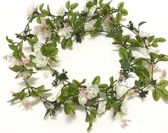 6 Ft Mini Pink and WHITE Artificial Rose Flower GARLAND- Wedding Arbor, Flower Crown, Silk Flowers, DIY Wedding, Millinery, Hair Accessories