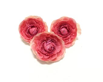 3 Shades of Pink Artificial Ranunculus - Artificial Flowers, Silk Flowers, OOAK, Flower Crown, Hair Accessories, Millinery, Corsage, Tutu