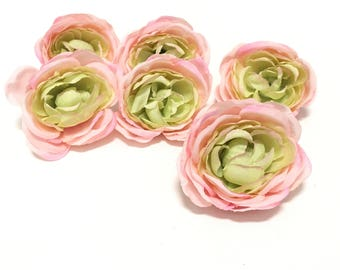 6 PINK and Green Artificial Ranunculus Flowers- Artificial Flowers, Silk Flowers, Flower Crown, DIY Wedding, Hair Accessories, Corsage, Tutu