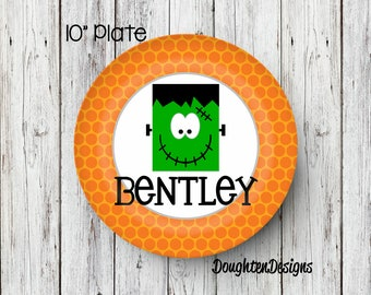 Personalized Melamine Plate, Halloween plate, Boy Frankenstein plate, Personalized Halloween plate, Personalized, Kids Plate, Melamine Plate