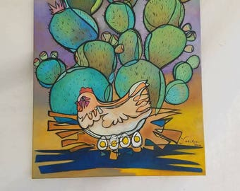 "The Nest in the Nopal- Original acrylic on canvas 18""× 24""-"