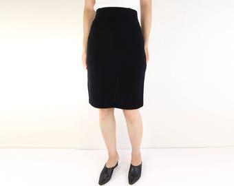 VINTAGE Black Skirt 1980s Body Con Pencil High Waist