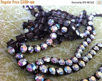 SALE Rustic Flea Market Style 6.1mm 29ss Large Chunky Dark Brown/black Patina brass Rhinestone Rainbow Clear ab crystal cup chain 6.1mm 29ss