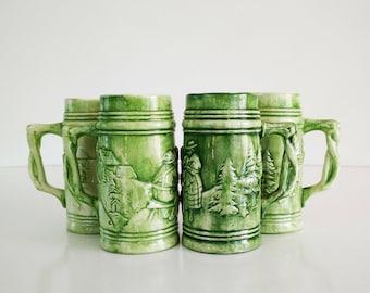 Vintage Green Ceramic Mugs, set of 4, Beer steins
