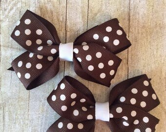 Brown with White Dots Bow Set_Boutique Bows