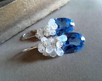 New! London Blue Topaz with Blue Flash Moonstone Gemstone Cluster Earrings Something Blue Bridal Earrings Gift For Her