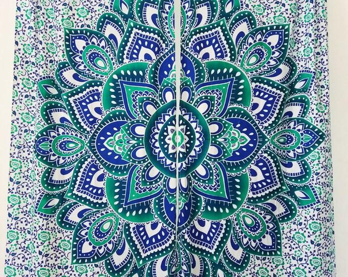 Mandala Flowr Blue and Green Tapestry Curtains Boho Mandala Window Treatment Hippie Curtains Beach Gypsy Tapestry Curtains Dorm Decor