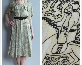 1940s Dress // Novelty Asian Silk Dress // vintage 40s dress