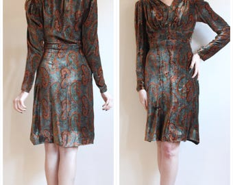 1930s Dress // Plush Paisley Silk Velvet Dress // vintage 30s dress