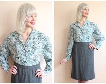 1940s Blouse // Bow Print Kerrybrooke Rayon Blouse // vintage 40s blouse