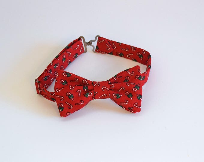 Boy's pre-tied Bow Tie, Christmas red candy canes bow tie, father/son bow tie, custom red holiday boy's bow tie, toddler Christmas bow tie