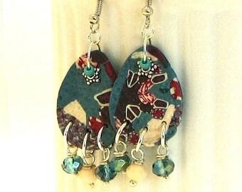 ON SALE Blue Dangle Earrings / Blue  Earrings / Polymer Clay Jewelry /  Lightweight Dangle Earrings / Dangles