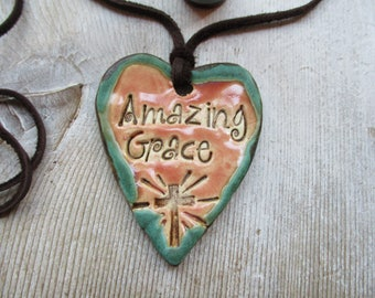 Amazing Grace Essential Oil Diffuser Pendant   Pink Aromatherapy  Colors  Heart Pendant