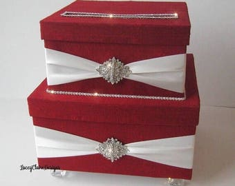 Wedding Card Box, Envelope Box, Reception Card Holder, Red and White, Custom Made