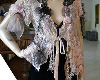 RESERVED Beautiful Art To Wear Sexy Feminine Unique Summer Lacy Elastic Jacket BLACK ORCHID Fairy Antoinette Gipsy Boho Tattered