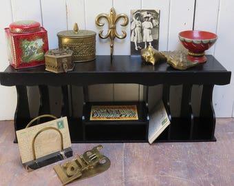 Vintage Desktop Wood Cubby Organizer Insert Mail holder painted black