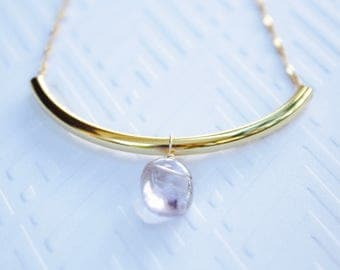 Amethyst Curved Bar Necklace, Amethyst Natural Stone Drop, Gold Tone Necklace, Ready to Ship