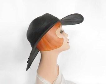 Vintage 1960s hat, black straw brimmed hat, Ruth Alan