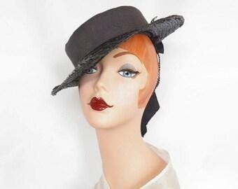 Vintage 1940s hat, navy straw tilt with upturned brim, WW2 era