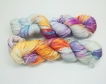 "Hand dyed sock yarn - Speckled 4 ply fingering, Sock&Roll base - Colourway ""Winter mood 2"" OOAK"