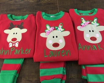 Christmas pajamas, Christmas, Pajamas, Christmas PJ's. Red and Green PJ's , Appliqued, Red, matching pajamas, matching Christmas pajamas