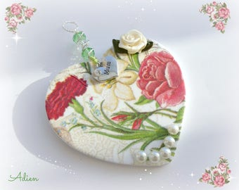 Rose Heart,  Gift for Mum, Porcelain Hanging Heart Decoration, Mothers Day Gift Idea,