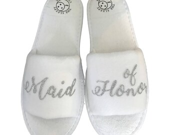 Wedding Party Slippers- White and Silver