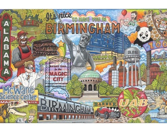 The Who, What and Where of Birmingham postcards pack of 10 signed by artist