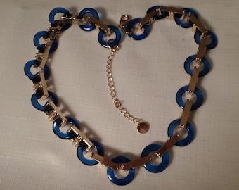 TRIFARI LUCITE NECKLACE / Choker / Bib / Blue / Gold / Couture / Runway / Designer / Signed / Modernist / Retro / Chic / Jewelry / Accessory