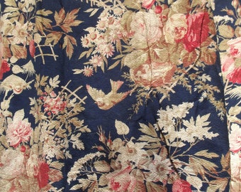 Stunning Antique French Fabric Humming Birds Chinoiserie Vintage 1920s Material