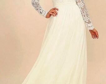 Long Ivory Chiffon Skirt, Maxi Skirt