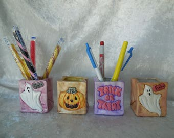 Four Hand Painted Ceramic Halloween Treat Bags, Halloween Treat Bags