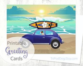 Parson Russell Terrier Beach Scene Greeting Card - Digital Download Printable