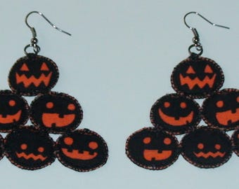 Halloween, Quilted, Black Pyramid Pumpkin Earrings (HQBPPE01)