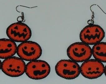 Halloween, Quilted Orange Pyramid Pumpkin Earrings (HQOPPE01)