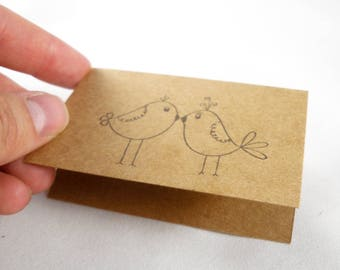 200 piece hand stamped custom gift card in white or brown kraft - love birds stamp - wedding, anniversary, engagement, christmas gift card