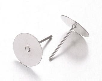 100 pcs. (50 pairs) Silver Plated Earring Posts/Bases/Studs/Settings with Rubber Backs - 12mm x 10mm - 10mm Glue Pad
