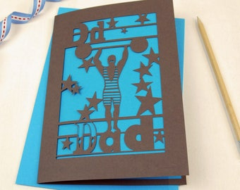 D is for Dad Strongman Father's Day Card, A5 Laser Cut Dad Card, Daddy Card