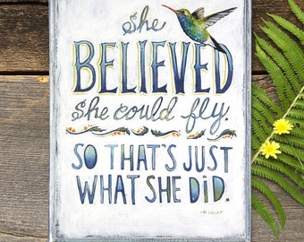 She Believed She Could So She Did, Quote on Wood Panel, Hummingbird Art Sign, Inspirational Gift for Her, Bird Art, Encouragement Quotes