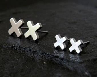 x earrings / minimal earrings / cross earrings / surgical steel earrings / plus sign earrings / dainty earrings / crisscross studs