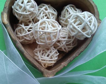 32 mm Large Natural Decorative Wicker Ball Bead for Jewelry Supply , Wedding and Home Decor. 10 Pieces