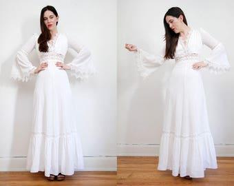 Vintage 70s White Cotton Mexican Wedding Flute sleeve Dress Embroidered Oaxaca Maxi Dress Sz S