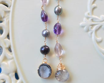 Long Mismatched Earrings, Druzy, Purple Amethyst Gemstone, Moss Pink Amethyst, Real Peacock Pearls, Gold Vermeil Jewelry, Free Shipping