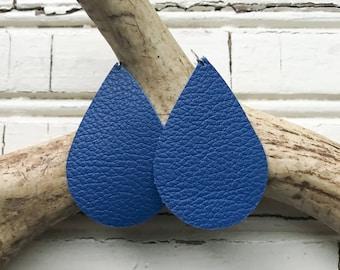 Royals Blue Leather Teardrop Earrings