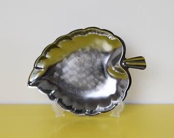 Vintage Leaf Dish, Mid Century Metal Leaf Shaped Tray, Leaf Serving Platter, Silver Metal Leaf Plate, Scandinavian Metal Leaf Tray