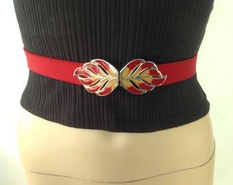 70s Leaf Buckle Belt Narrow  Red Stretch Belt Skinny Disco Belt Enamel Buckle Belt Boho Hippie Belt sixcatsfunvintage