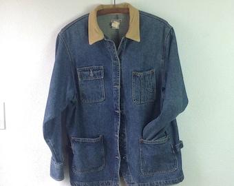 Women's Chore Jacket  Barn Coat  Vintage Denim Jacket  Size S Small  Womens Denim Jacket  Womens Fall Jacket Corduroy Collar Made in the USA