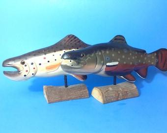 Vintage set of wooden fish decor, wooden trout